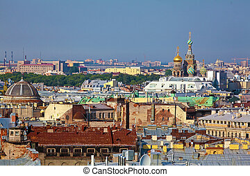 Aerial View from Isaac Cathedral, Saint Petersburg, russia