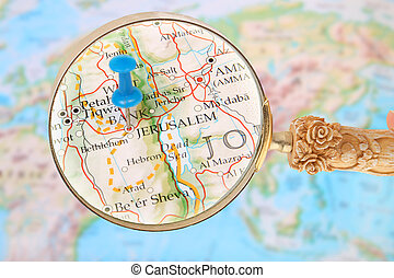 Looking in on Jerusalem, Israel, Asia - Blue tack on map of...