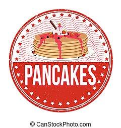 Pancakes stamp - Pancakes grunge rubber stamp on white...
