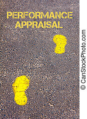 Yellow footsteps on sidewalk towards Performance Appraisal...
