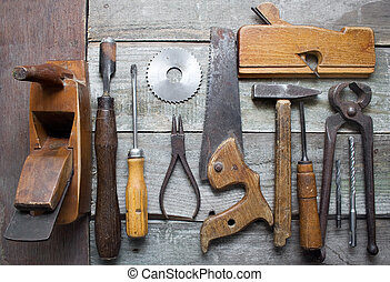 Old hand tools table - Old rusty and dirty carpenter hand...