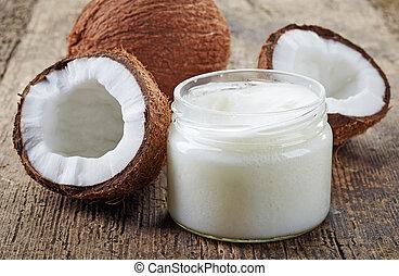 coco, óleo, e, fresco, cocos,