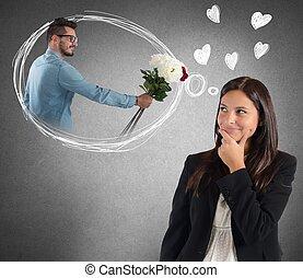 Businesswoman thinking about boyfriend - Businesswoman is...