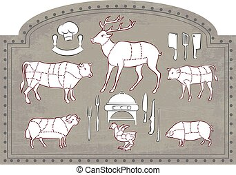 Cutting Meat - Vector illustration of Diagram Guide for...