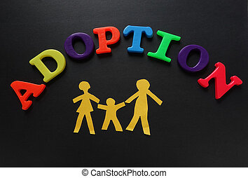 Adoption letters - Paper cutout family of three with...