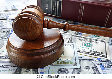 law book and gavel - Legal gavel with cash and law book...