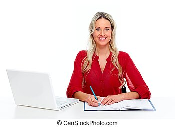 Woman working with laptop computer.