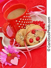 Coffee and cookies for Valentines - Coffee and cookies with...