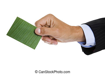 Green Business Card - Man giving out a green business card...