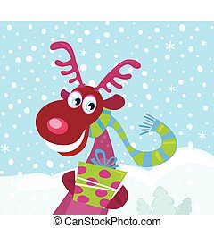 Red-nosed Rudolph on snow - Cute Rudolph with christmas...