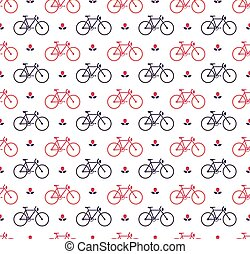 bicycle pattern - Seamless pattern with bicycle and flower...