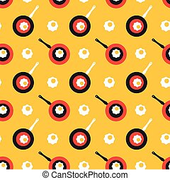 scrambled eggs and frying pan pattern - Seamless pattern...