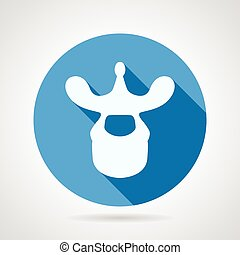 Thoracic vertebra blue vector icon - Round flat blue vector...