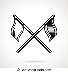 Black vector icon for crossed flags - Flat black line icon...