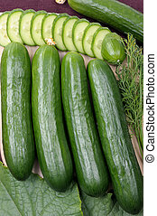 Cucumbers - Smooth cucumbers and the cut circles.