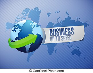 business up to speed globe sign illustration design over a...