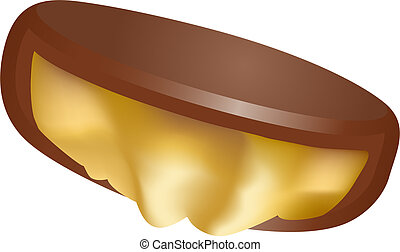Caramel Chocolate  isolated on a white background.