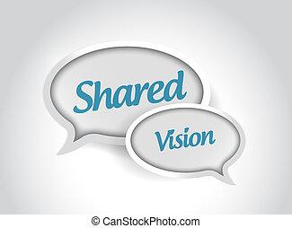 compartido, visión, mensaje, burbujas, Ilustración, diseño,
