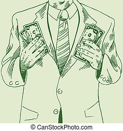 Money Man Drawing of a guy with two handfuls of cash.