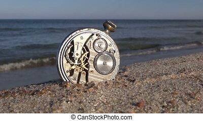 pocket vintage clock on sea beach - pocket vintage pocket...