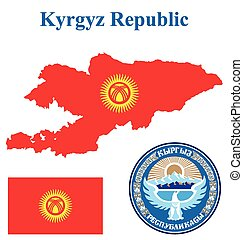 Kyrgyz Republic Flag - Flag and national coat of arms of the...