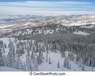 Mountain View - A view from atop a snow covered mountain.