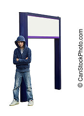 Boy with Sign - an isolated image for ease of use, of a teen...