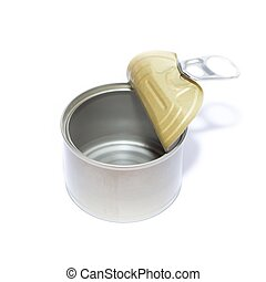 Empty Opened Tin Can isolated