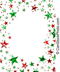 Christmas Stars - A star field of green and red stars with a...