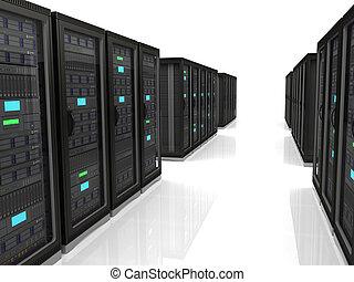 3d illustration of network server raks - server racks in a...