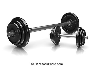 Weights - Couple of Black Weights on White Background 3D...