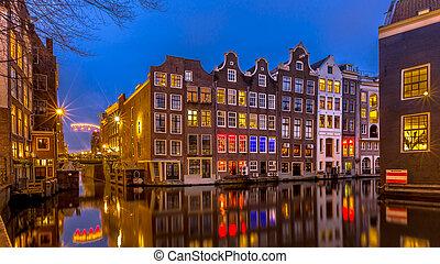 Nightscape, de, canal, casas, Amsterdão,