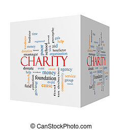Charity 3D cube Word Cloud Concept with great terms such as...