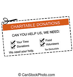 Charitable Donations Orange Coupon - An orange and white...