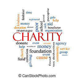 Charity Word Cloud Concept with great terms such as donate,...