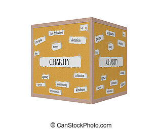 Charity 3D Corkboard Word Concept with great terms such as...