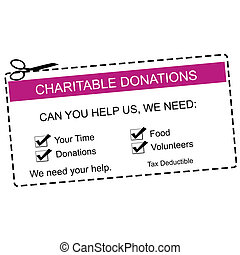 Charitable Donations Purple Coupon - A purple and white...