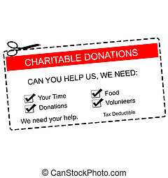 Charitable Donations Red Coupon - A red and white Charitable...