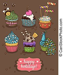 Set of party cupcakes with different toppings