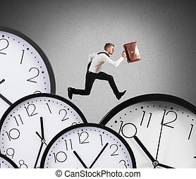 Overload businessman runs - Businessman runs overload of...