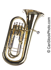 Tuba Euphonium Isolated on White - A gold brass euphonium...