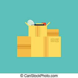 moving boxes - vector illustration flat style simple moving...