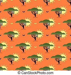 baobab tree and sun pattern - Seamless pattern with baobab...
