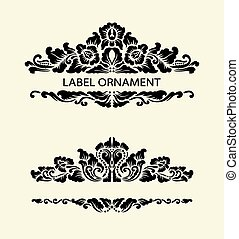 Label floral ornament 1 - Blank label ornament decoration....