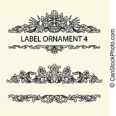 Label floral ornament 4 - Blank label ornament decoration....