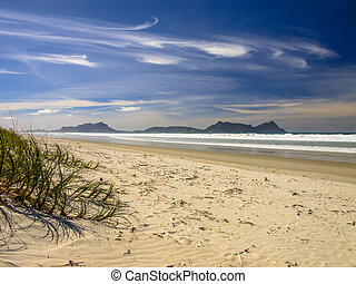 White Sand Beach With Beautiful Blue Sky at Waipu, New...