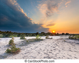 Sunset with Storm Front over Nature Reserve - Sunset with...