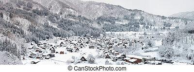 Shirakawago Panorama - Aerial Shirakawago panorama winter...