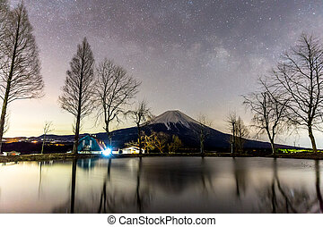 Mount Fuji Fujisan star - Mount Fuji Fujisan with Star and...