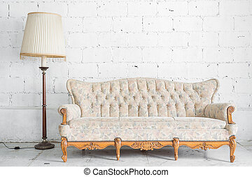 White Retro Sofa with lamp - White Vintage classical style...